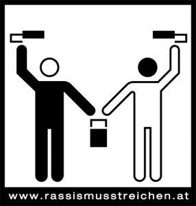 Rassismus streichen - Kampagne von SOS Mitmensch - Logo von Andrea Ressi.